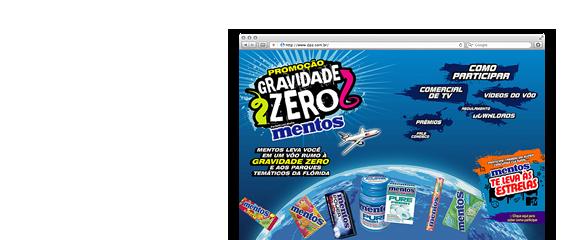 Hotsite Mentos Gravidade Zero